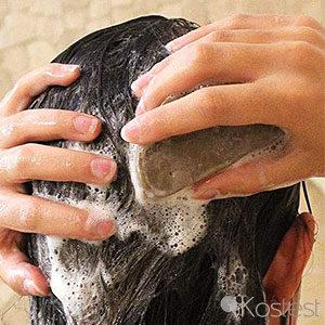 Texture shampooing solide à l'argan et au rhassoul Comme Avant